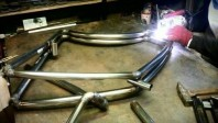 A Viks frame being welded together